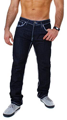 Amica Herren Denim Jeans Hose Straight Leg gerade Passform Vintage Look mit Kontrastnähte, Grösse:W30, Farbe:Dunkelblau/Weiß