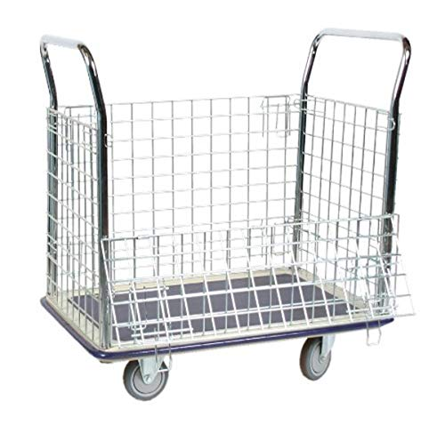 Wesco Industrial Products 270456 Steel Wire Caged Platform Truck, Rubber Wheels, 660Pound Capacity, 23