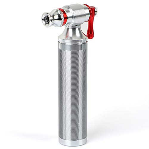 CO2 Bike Tire Inflator,Bicycle CO2 Pump 2 in 1 Valve Head with Cartridge Storage Canister for Road MTB Schrader & Presta,Suitable for 12g 16g 20g 25g CO2 Cartridge Thread -No Cartridge Included