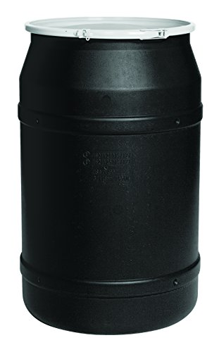 Eagle 1656BLK Black Drum with Poly Lever Lock Ring, 55 gal Capacity