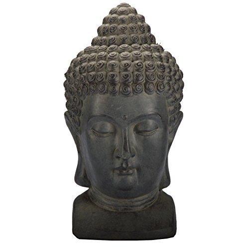 DRULINE 3 Farben Buddha Kopf Figur Dekoration Innendekoration Feng Shui Stein Deko (Grau)