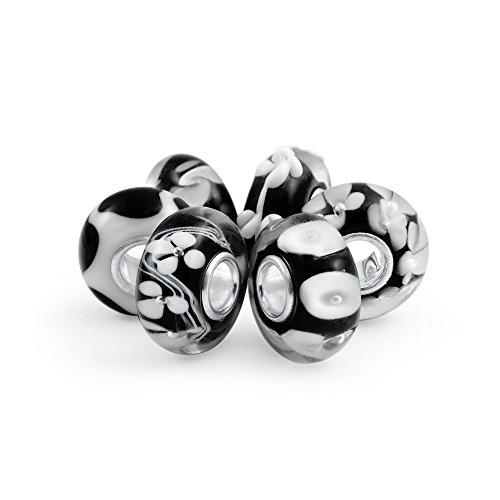 Bling Jewelry Black Floral Murano Glass Mix of 6 Sterling Silver Core Spacer Bead Fits European Charm Bracelet for Women for Teen