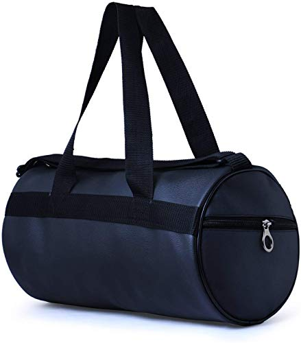 Swizz Fashion PU Leather Gym Duffel Bag | Shoulder Gym Bag | Sports and Travel Bag | Gym Basketball Football Cricket Kit Multipurpose with Side Compartments – Black for Men Women Boys & Girls