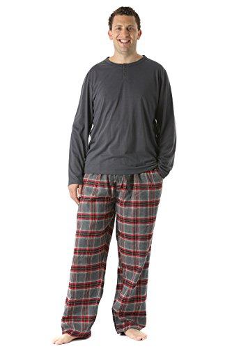 FollowMe Pajama Pants Set for Men / Sleepwear / PJs, Gray/Plaid,Plaid 4,XX-Large