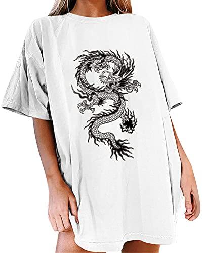 Tomwell Camisetas Mujer Manga Corta Blusa Top Shirts Casual Verano Elegante Diente de León Estampado Cuello Redondo Tops Largos Suelto T-Shirt Tops G Blanco XXL