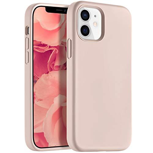 Upeak Carcasa de Silicona Líquida Compatible con iPhone 12 Mini, 5.4 Pulgadas, Protección de Cuerpo Completo, Funda para Teléfono con Forro de Microfibra para Mujeres y Hombres, Rosa Arena