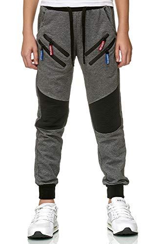 XRebel Kinder Junge Jogging Hose Jogger Streetwear Sporthose Modell W09 (Gr. 10 (128-134), Dunkelgrau)