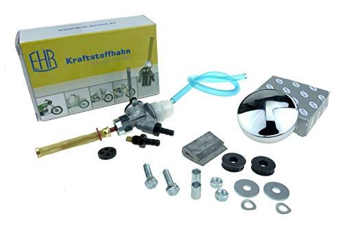 SET Zubehör, Anbauteile zum Kraftstofftank KR51 Schwalbe - Kraftstoffhahn, Tankdeckel, Benzinschlauch, Befestigungsteile, Kleinteile