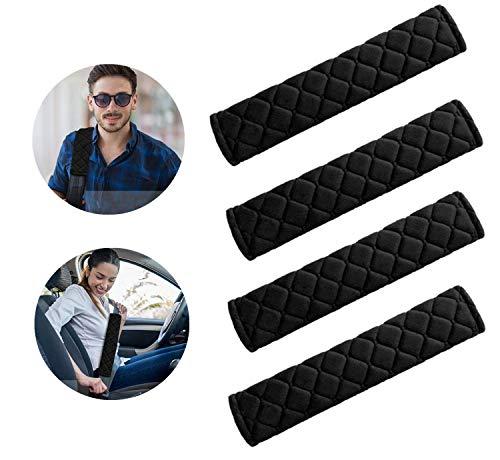 Gurtpolster Auto,4 Pack Sicherheitsgurt Schulterpolster,Samtoberfläche Abnehmbar Waschbar Polsterung für Sitzgurt im Auto für Kinder und Erwachsene - Schwarz