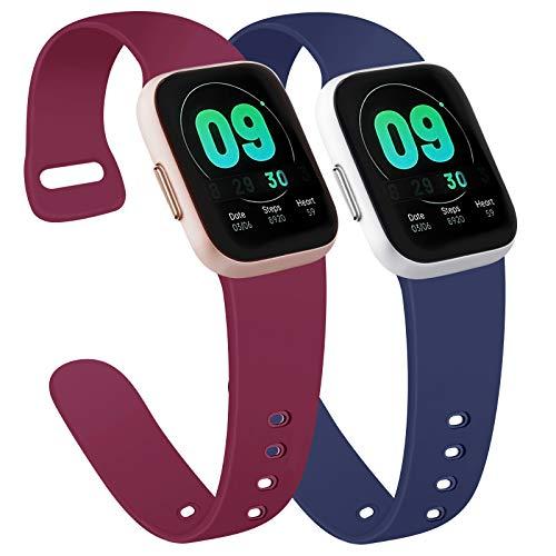 AK Cinturino Compatibile per Apple Watch 44mm 42mm 38mm 40mm, Cinturino per Uomo e Donna Cinturino Sport in Silicone per iWatch Serie 6 5 4 3 2 1 SE (38/40mm S/M, Blu Navy+Rosso Vino)