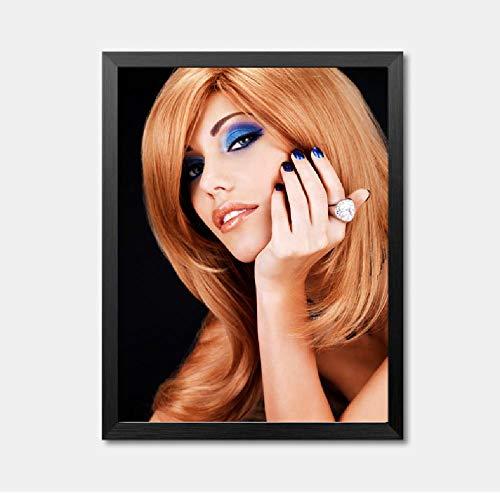 Mooie Meisjes Blond Haar Foto Canvas Schilderen Mode Glamoureuze Vrouw Make-up Muur Kunst Foto Schilderen 40x60cm