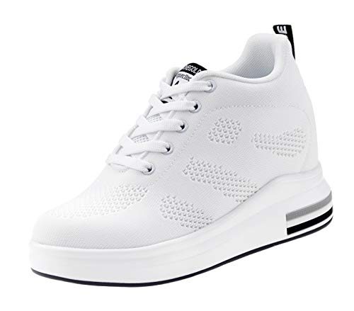 AONEGOLD® Zapatillas de Deporte Transpirables Zapatillas de Cuña para Mujer Alta Talón Plataforma 8cm Sneakers(Blanco,36 EU)