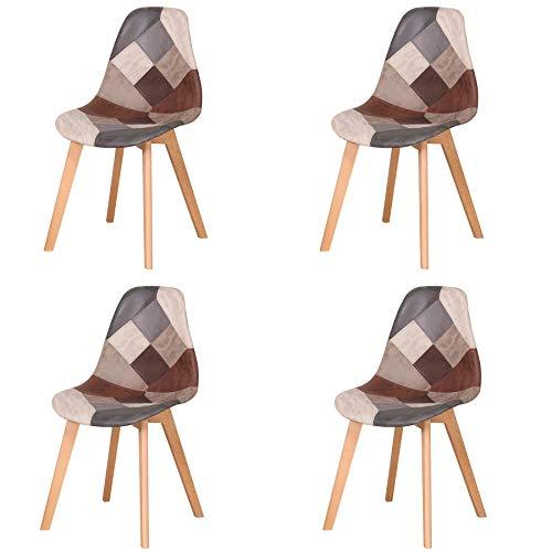 Silla de Comedor, Juego de 4 sillas de Retazos Silla de Nórdico Estilo para Sala de Reuniones Comedor Sala Estar Restaurante (Retro-4)