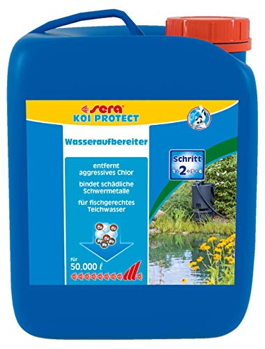 sera Koi Protect Wasseraufbereiter für koigerechtes, mineralstoffreiches Teichwasser, entfernt sofort Chlor & Chloramine, bindet Schwermetalle im Teich, mit Mineralstoffen, Schleimhaut & Kiemenschutz