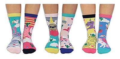 United Oddsocks - Calcetines, talla 37-42, diseño de unicornios y llamas
