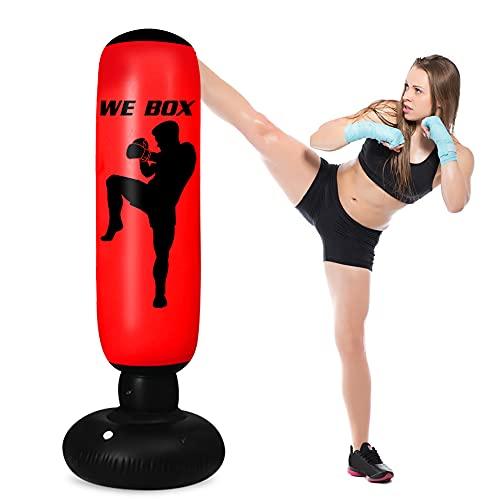 rolovee Boxsack Kinder Standboxsack- Boxsack Stehend, 160CM Erwachsene Kinder Standboxsack für Sofortiges Zurückprallen zum Üben von Karate, Taekwondon Für Jugendliche Erwachsene (Rot)