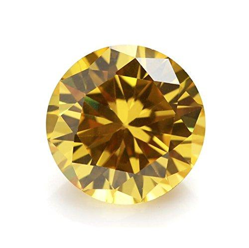100PCS 4.0mm AAAAA Round Machine Cut Golden Yellow Loose CZ Stones Cubic Zirconia (4.0mm 100pcs)