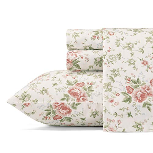 Laura Ashley Home - Sateen Collection - Sheet Set - 100% Cotton, Silky Smooth & Luminous Sheen, Wrinkle-Resistant Bedding, King, Lilian