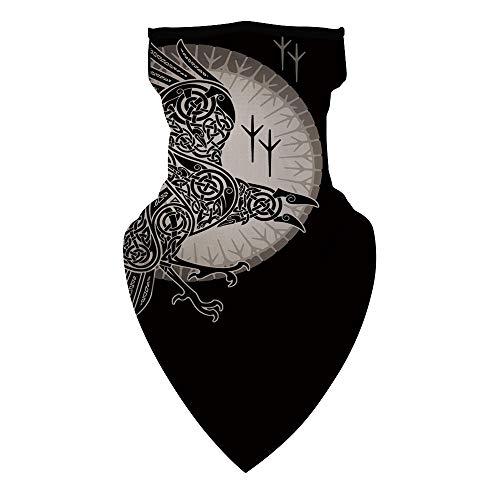 AEMOOEE Viking Norse Mythology Print Triangle Rave Bandana Face Mask Scarf Ear Loops Neck Gaiter Balaclava for Women Men,Viking Eagle