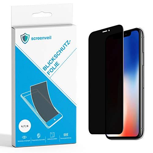 Screenveil - Premium Blickschutzfolie aus gehärtetem Glas für iPhone 6/6s/7/8 - Innovative Sichtschutzfolie - schützt sicher vor fremden Blicken und Schäden