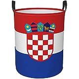 ミッドセンチュリーモダングラフィックラウンドオックスフォードファブリックランドリーハンパーハンドル付きポータブル汚れた服収納バスケット小-クロアチア国旗-中