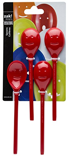 Zak Designs Happy Slotted Spoons, 4-piece set, Red