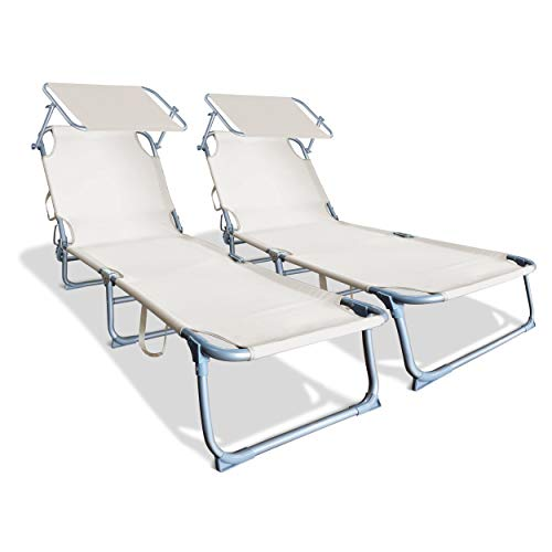 VOUNOT Juego de 2 chaise longue para tomar el sol con sombrilla | Tumbona plegable con sombrilla | Tumbona reclinable de poliéster | Carga máxima 110 KG | Chaise longue ajustable beige