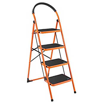 Luisladders 4 Step Ladder Folding Step Stool with Handgrip Anti-Slip and Wide Pedal Sturdy Steel Ladder 330lbs Capacity for Household