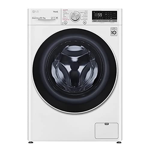 LG F2DV5S8H0E Lavasciuga Slim a Carica Frontale 8.5 / 5 Kg, 1200 Giri/min, Lavatrice e Asciugatrice con Wi-Fi, Intelligenza Artificiale AI DD, Turbo Wash, Vapore Igienizzante, 60 x 47 x 85 cm - Bianco