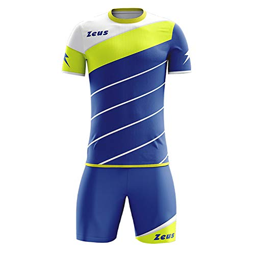 Zeus Kit Lybra Uomo Herren Kinder Trikot Shirt Hosen Klein Armel Kit Fußball Hallenfußball Electric Royal Gelb Fluo (XS)
