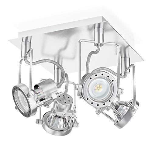 ledscom.de Deckenleuchte ERAS, vierflammig, inkl. 4x LED GU10 Lampen (warmweiß, 2700K, 5,5W =71W, 550lm, 50°)