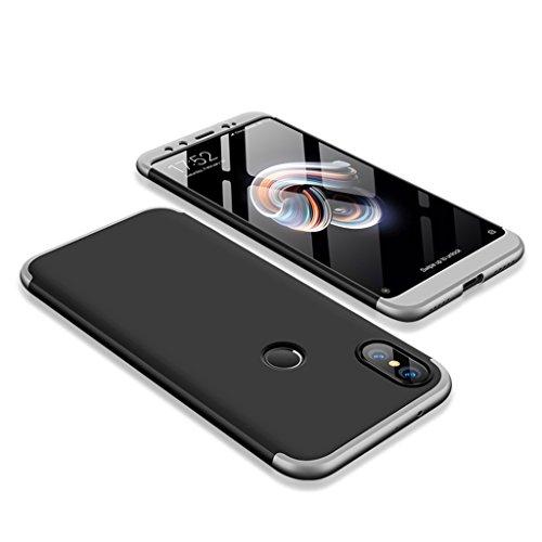 FaLiAng Funda XiaoMi Mi A2, 3 en 1 Desmontable Anti-Arañazos Hard PC Carcasa 360° Full-Cover Anti-Choque Protective Funda para XiaoMi Mi A2 (Negro, Plata)