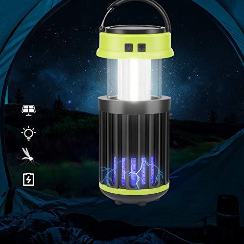 OVAREO Matainsectos para camping, lámpara solar y USB eléctrica contra insectos UV, plegable, portátil, con gancho de batería recargable, para interior y exterior