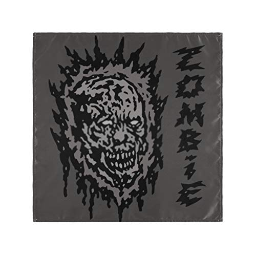 Satin Napkins Set of 6, Creepy Gray Zombie Head Vector Illustration,Square Printed Party & Dinner Cloth Napkins,20