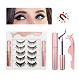 5 Pairs Magnetic Lashes with Eyeliner Kit Magnetic Eyelashes Natural Look— 5 Different Lengths and Densities 3D Magnetic Eyelashes Set