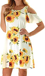 Aunimeifly Ladies Sexy Off Shoulder Short Sleeve Sunflower Print Dress Summer Casual O-Neck Mini Beach Dress