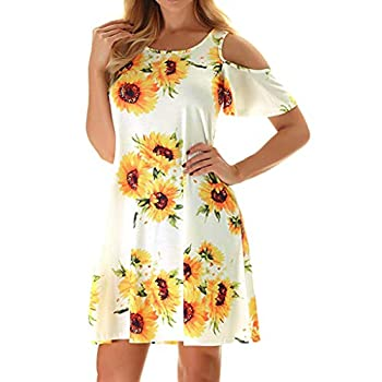 Misyula Style T Shirt Dresses for Women Cold Shoulder Miss Swing Dress with Pockets Elegant Loose Stretchy Cute Short Sleeves Modest Leisure Crew Neck Church Soft Party Wear Yellow White Flower L