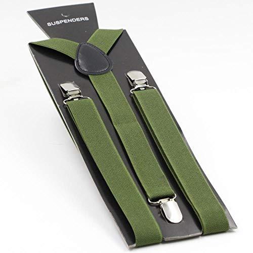 JJZZ Hosenträger Herren Hosenträger Y-Rücken Verstellbarer Hosenträger Clip-on elastische Klammer Frauen Gürtel Riemen 40 Farben, L 2,5X100 cm, 6 Armee grün
