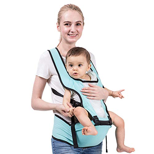 MAGICBABY 3D Soft Baby Carrier 6-in-1 Waist Stool 360° Ergonomic Soft Seat Belt Waistband Hip Support for Newborn Infant & Toddler All Season(Breathable-Design)(Paleturquoise)
