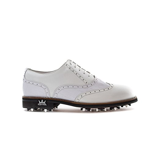 LAMBDA GOLF Man Schuhe Mod. Monza COL. Weiß Kroko, weiß, 44