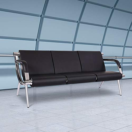 PU Leather Waiting Room Chairs 3-seat Airport Seating Reception Bench for Clinic Office School Salon with Arms
