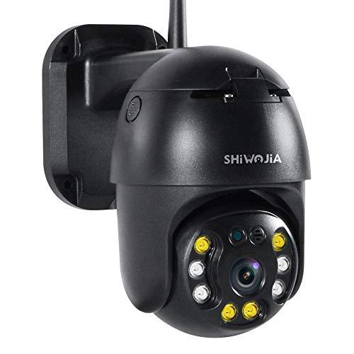 SHIWOJIA 1080P PTZ Camara Vigilancia Exterior, Cámara de Vigilancia Domo Inteligencia del Hogar Impermeable IP65 con HD Visión Nocturna, Notificación de Alarma, Audio Bidireccional(Negro)