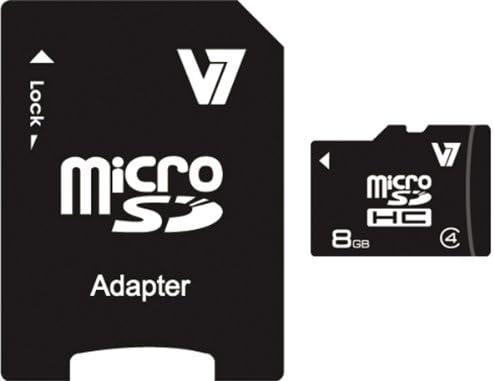 V7 8GB MicroSDHC Class 4 Flash Memory Card with SD Adapter (VAMSDH8GCL4R-1N),Black