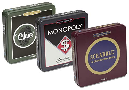 Scrabble, Monopoly, and Clue Board Game Nostalgia Tin Collection