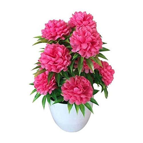 LUCHAO Bonsai 1 Stück Praktische künstliche Chrysantheme Bonsai Topfpflanze Simulation Künstliche Blume Gefälschte Blume Landschaft Home Floral Decor (Farbe : Rose Red)