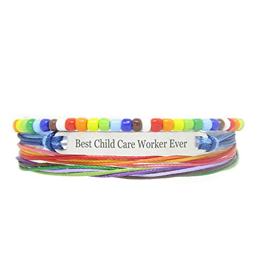 Miiras Bracelet Fait Main pour LGBT - Best Child Care Worker Ever - Arc en Ciel - Fabriqué en Corde tressée en Acier Inoxydable - Gift for Child Care Worker