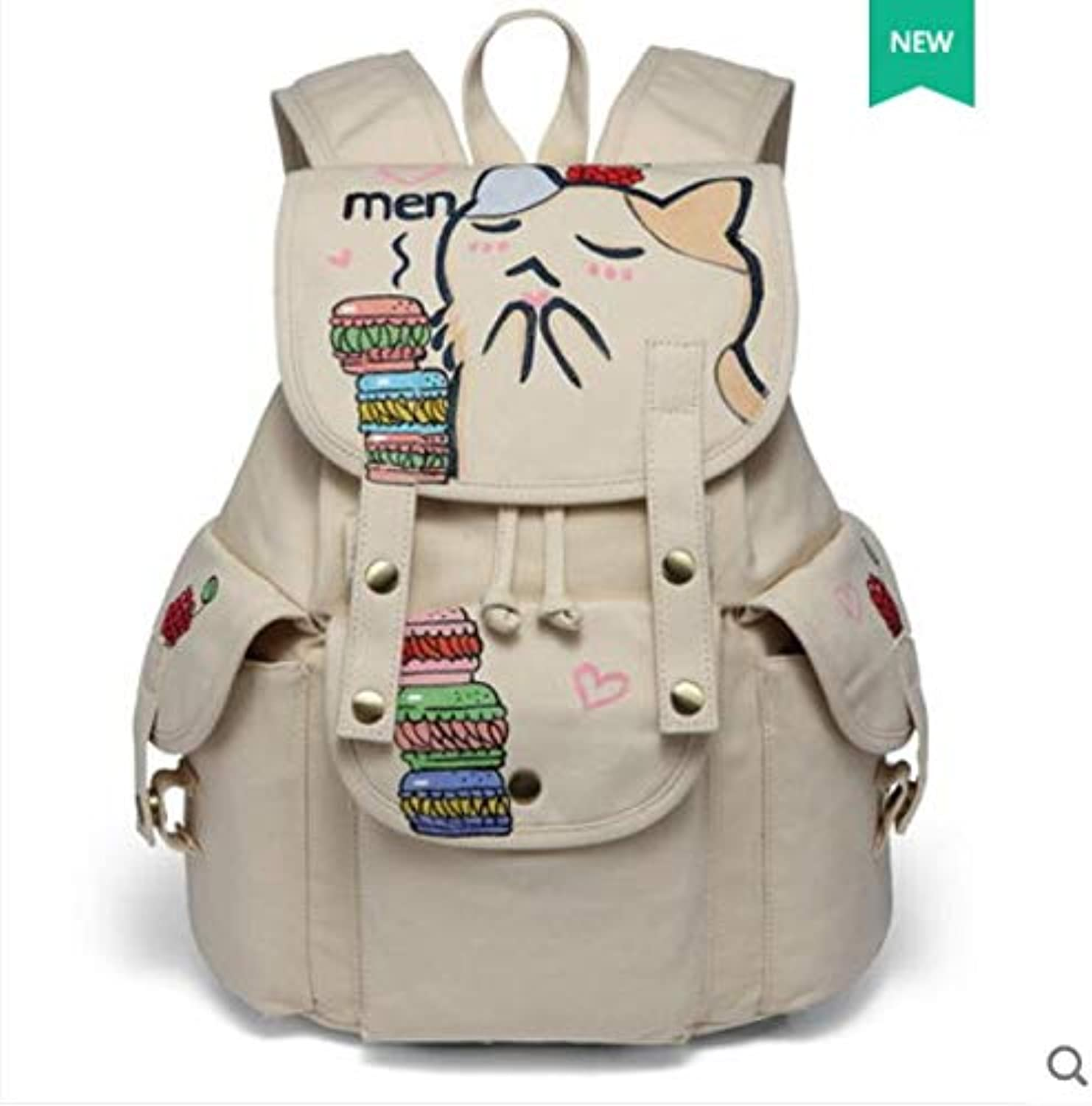 QWKZH School Bags New Hand-painted Backpack Korean Simple College Style Backpack Student Bag Men and women Travel Backpack,AZ1