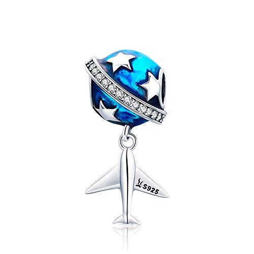 Ster en vliegtuig reizen wereld echte 925 sterling zilver sprankelende ster en vliegtuig droom duidelijk CZ blauw emaille bedels passen armbanden DIY sieraden