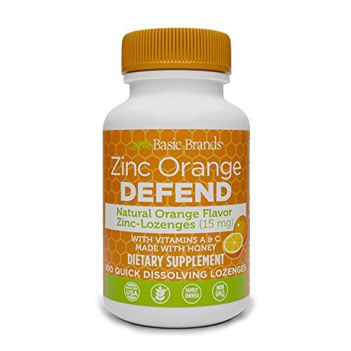 Basic Organics Pastillas de zinc sabor natural 100 tabletas naranja