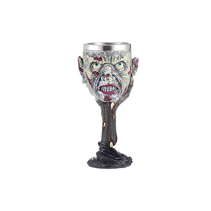 Tvoip Horrible Resin Stainless Steel Skull Goblet Retro Claw Wine Glass Gothic Cocktail Glasses Wolf Whiskey Cup Party Bar Drinkware Skull3